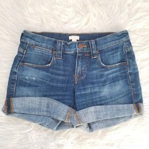 J Crew Factory Cuffed Denim Shorts 24
